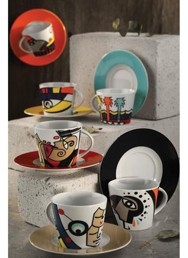 Kütahya Porselen Kahve Takımı Renkli